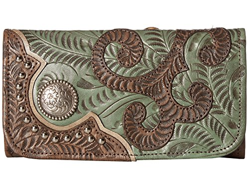 American West Women's Hand Tooled Tri-Fold Wallet Distressed Brown One - Tooled American West