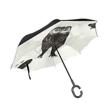 orezi paraguas búho Man Holding Umbrella doble capa puede umbrella-waterproof protección paraguas perfecto para