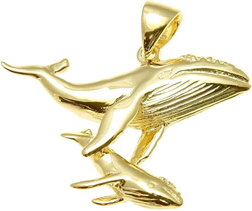 YELLOW ROSE GOLD PLATED SILVER 925 HAWAIIAN HUMPBACK WHALE MOTHER BABY PENDANT