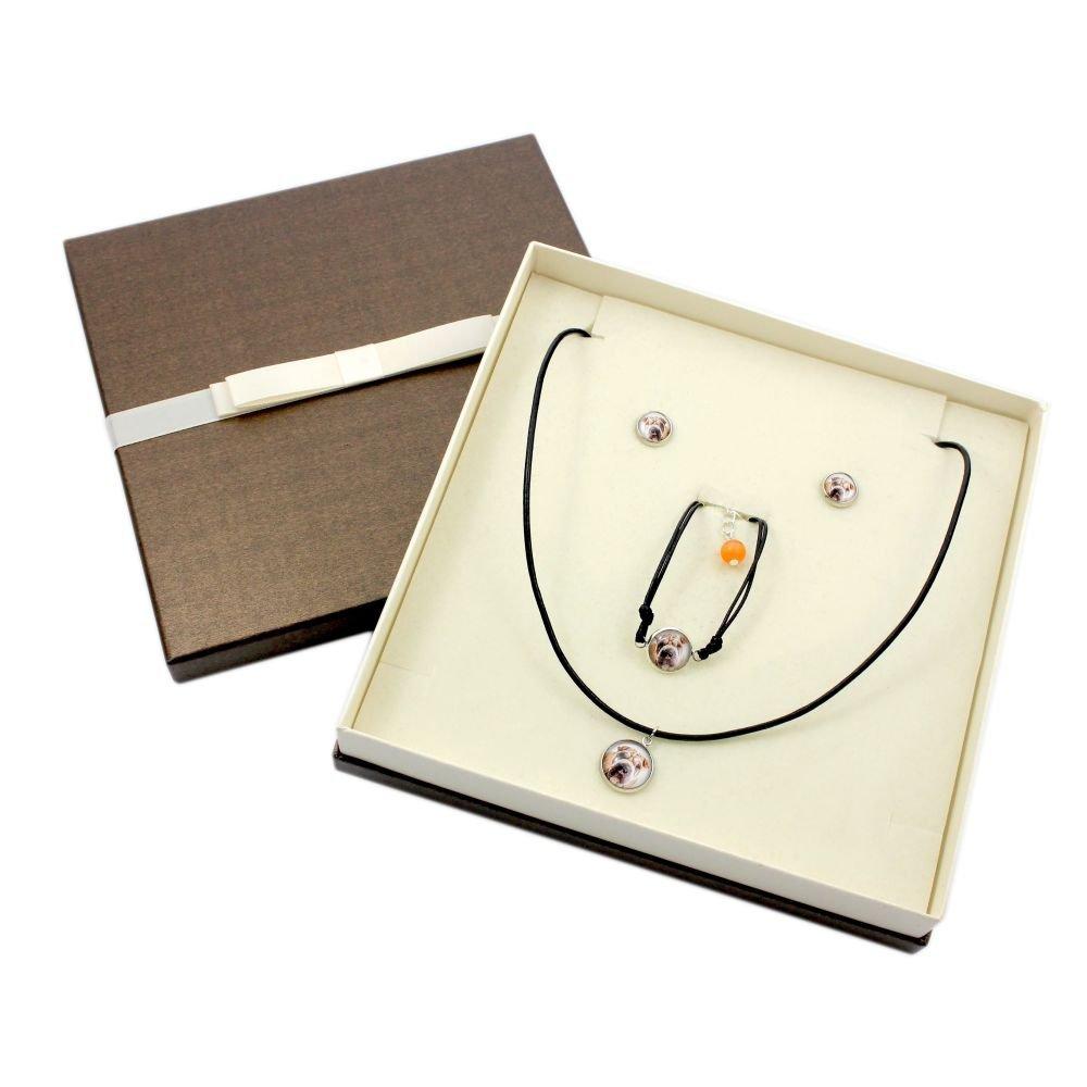 Art Dog Ltd Set of Earrings Photo Jewelry Handmade a Bracelet and Necklace with Box Shar Pei