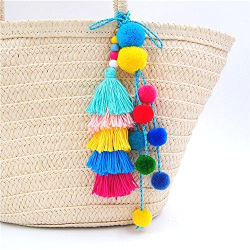 Vk Women Fashion Colorful Pompom Ball Tassel Pendant Handbag Ornaments Purse Decor or Necklace