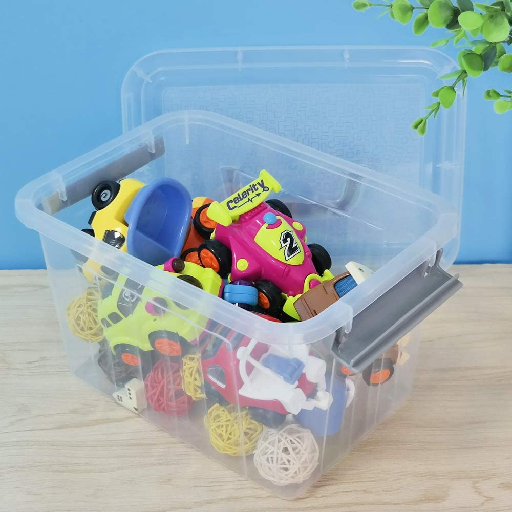 6 Pack Rinboat Plastic Fisrt Aid Box Storage Bin with Handles and Lid About 6.5 Quart