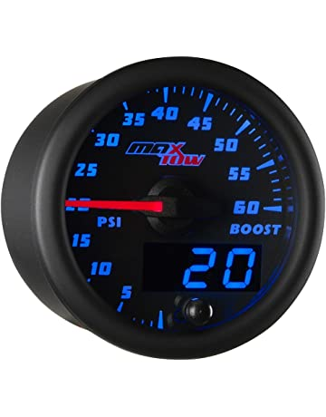 MaxTow Double Vision 60 PSI Turbo Boost Gauge Kit - Includes Electronic Pressure Sensor - Black