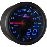 MaxTow Double Vision 60 PSI Turbo Boost Gauge Kit - Includes Electronic Pressure Sensor - Black Gauge Face - Blue LED…