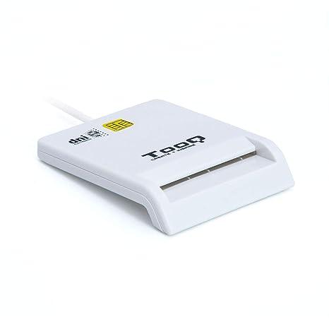 Tooq TQR-210W - Lector Externo de DNI electrónico y Tarjetas Inteligentes (DNIe), USB 2.0, Color Blanco, 480Mbps.