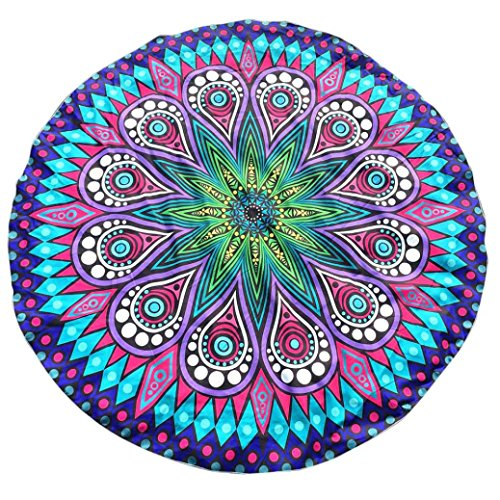 YJYdada Round Printing Hippie Tapestry Beach Picnic Throw Yoga Mat Towel Blanket (Sky Blue)