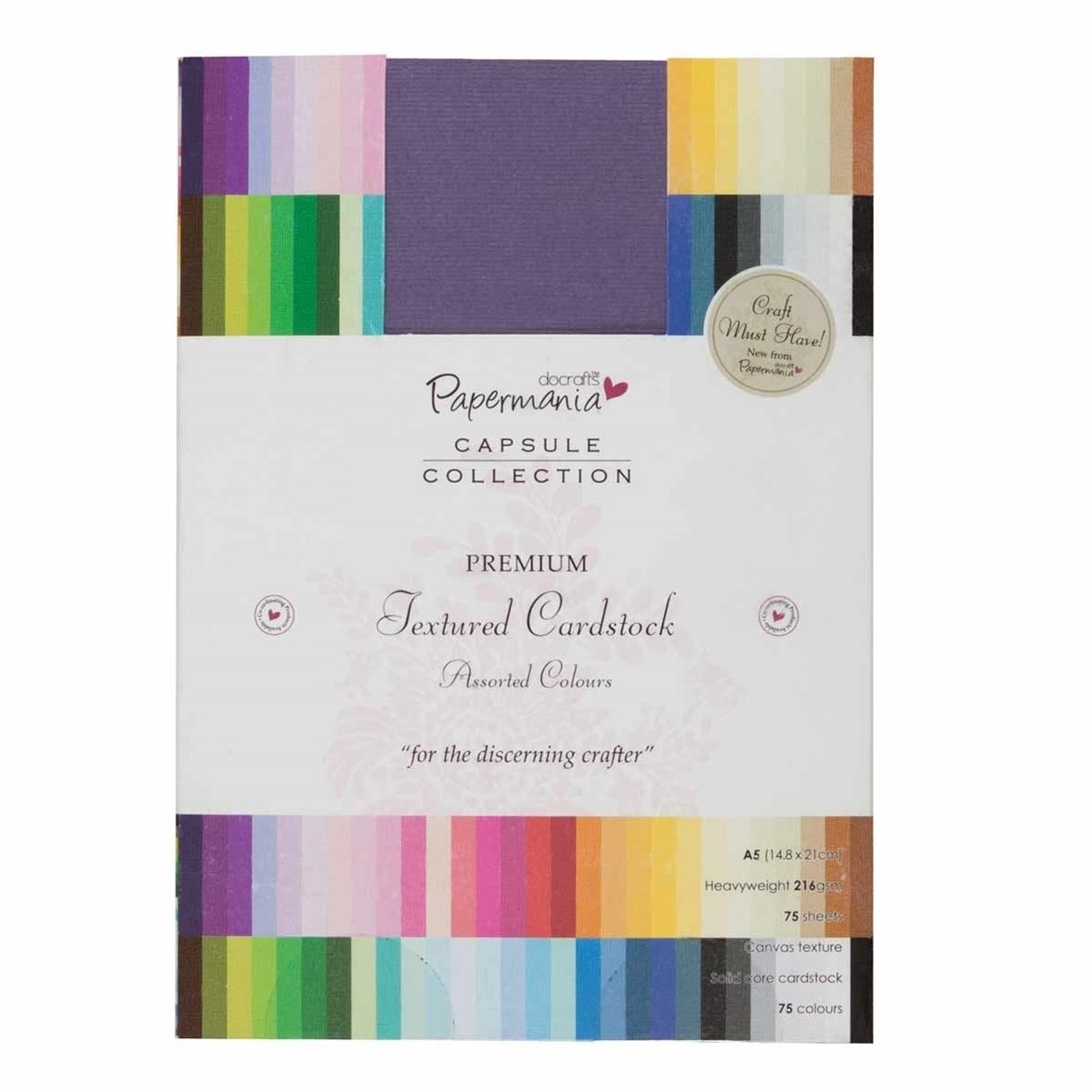 Multi color cardstock paper - Amazon Com Docrafts Papermania Premium Textured Solid Cardstock Pack A5 Multicolor 75 Pack