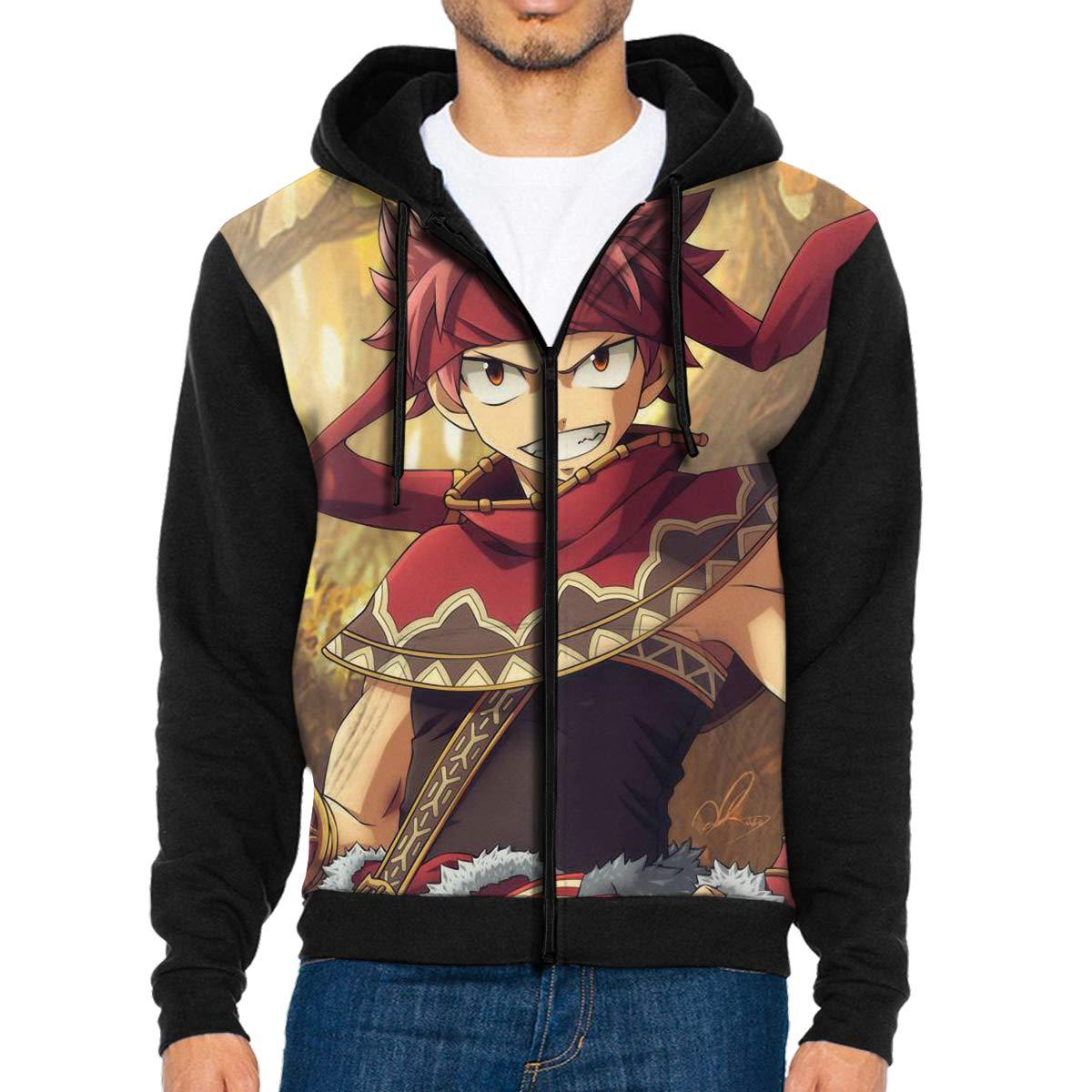 ZWLLWYL22 Mens Jacket Sweatshirt Natsu Dragneel Hoodies for Men Lightweight Sports Full Zip Hoodie Hooded