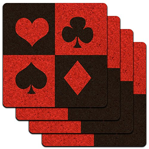 (Casino Party Card Poker Game Night Low Profile Cork Coaster Set)