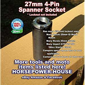 27mm (37mm OD) Special Remover Tool 4-Pin Spanner Socket Tool to Remove Your Small Motor Mount Lock Nut Castle Nut Has Many Uses on Many Different Brands And Models @ Small Motormount Locknut on many Suzuki GSXR600 GSXR750 GSXR1000 SV650 SV650S SV1000 DL650 DL1000 V-STROM GSX1300BK B-KING GSX1300R Hayabusa and Many More