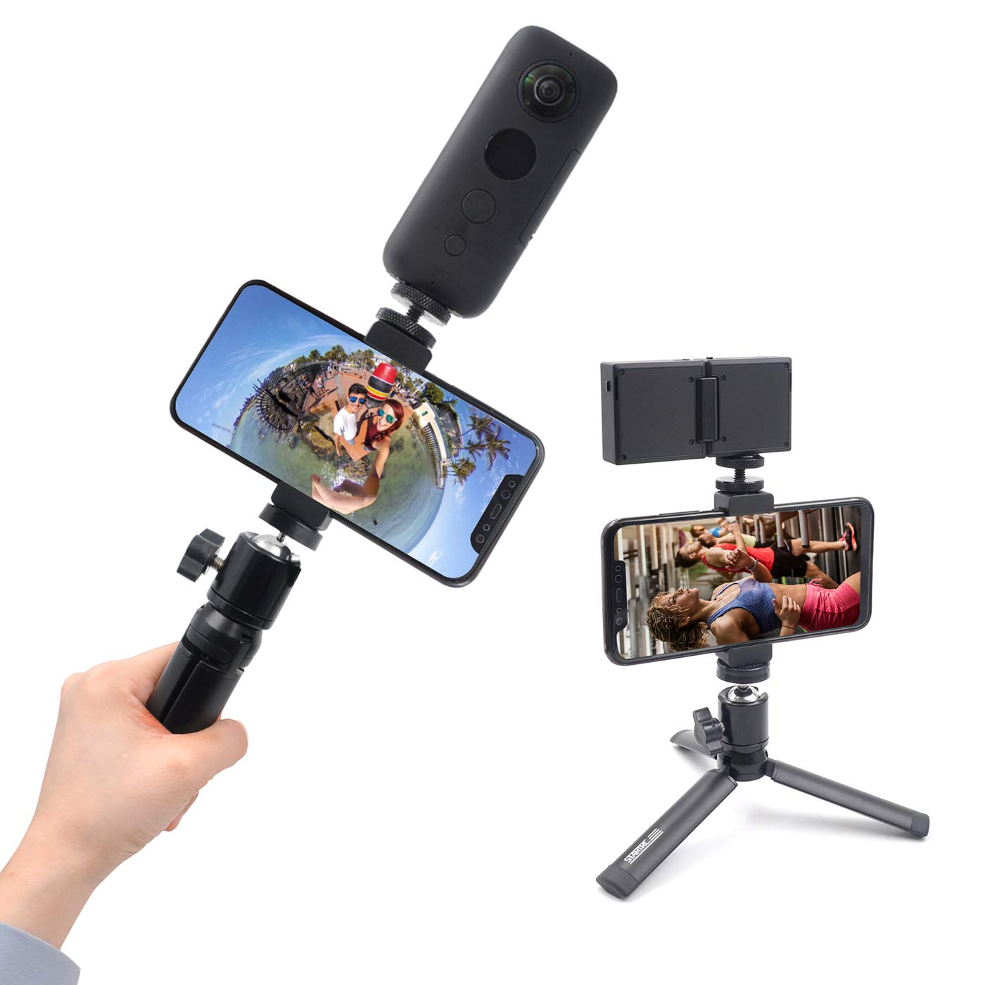 STARTRC Mini Tripod for Selfie Stick Monopod Stabilizer,Handheld Folding Cellphone Aluminum Tripod Mount Stand for Insta360 ONE X/EVO Camera Accessories