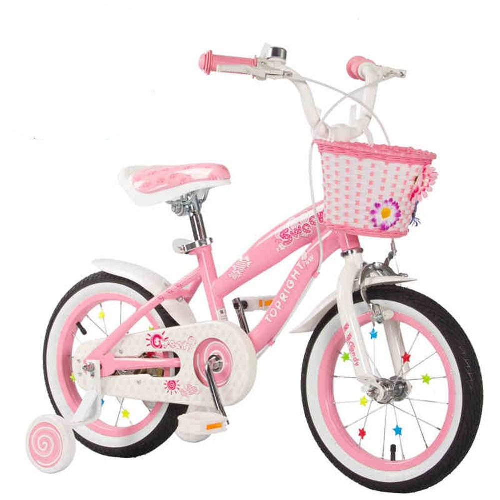HAIZHEN マウンテンバイク 少年少女のためのキッドバイクバイク、12インチ、16インチ、95%組み立て、子供用ギフト 新生児 B07C44MCN1 16 inch|ピンク ぴんく ピンク ぴんく 16 inch