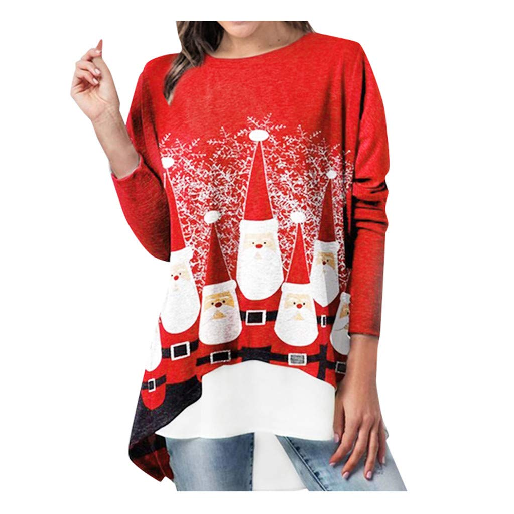 Oversize Womens Christmas Long Sleeves Pocket Tunic Sweater Casual Sequins Dress