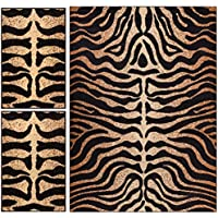 Royal Court Tiger Zebra Animal Print Modern Contemporary Geometric Beige Brown Ivory 3-piece Living Dining Room Entryway Bathroom Kitchen Ultra Value Area Rug Set 5x7 and Bonus 2x3 Mats