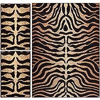 Royal Court Tiger Zebra Animal Print Modern Contemporary Geometric Beige Brown Ivory 3-piece Living Dining Room Entryway Bathroom Kitchen Ultra Value Area Rug Set 5x7 and Bonus 2x3 Mats