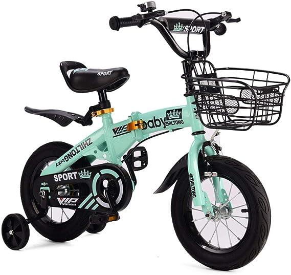FYYTRL Infantil Plegable del Peso Ligero de la Bicicleta, niño y niña el Entrenamiento del Equilibrio de Bicicletas, con Las Ruedas auxiliares, Cesta,Green,16inch: Amazon.es: Deportes y aire libre
