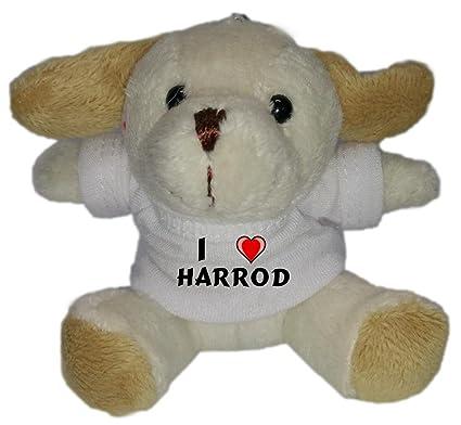 Perro de peluche (llavero) con Amo Harrod en la camiseta (nombre de pila