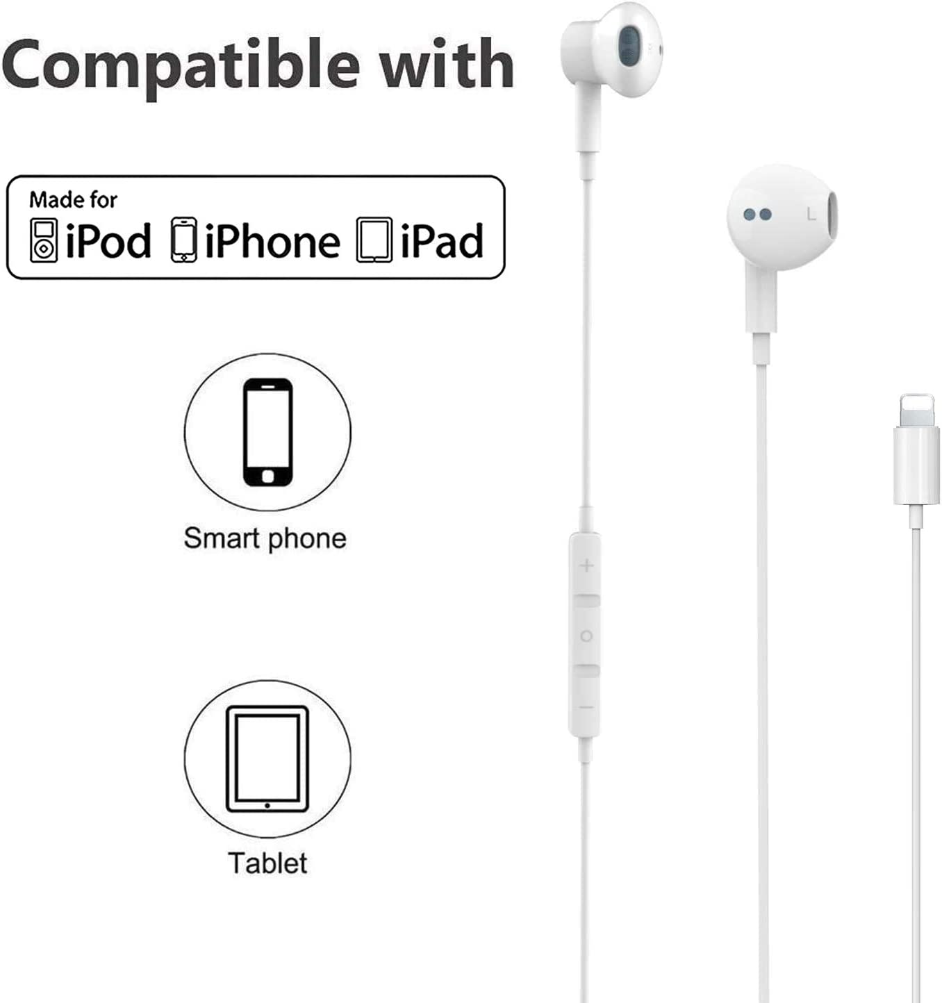 Earphones 3.5mm Jack for iPhone Headphone Plug,Earphones Stereo Headphones Noise Headset with Mic Call+Volume Control for iPhone 6 Earbus Compatible with iPhone 6s//6plus//6//5s and More 2 Pack