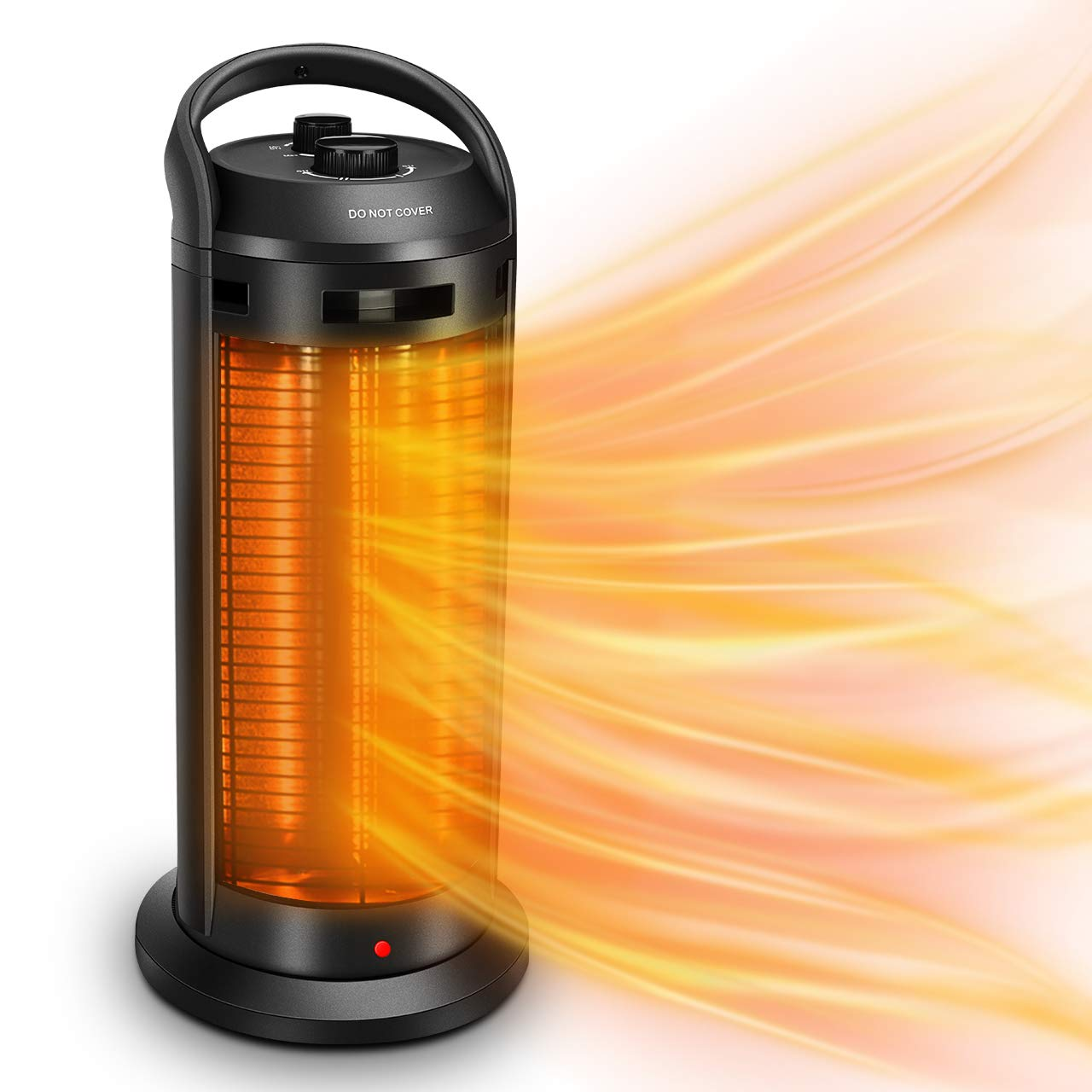 TRUSTECH Space Radiant Heater – Infrared Heater, Adjustable Electric Heater 1500W w 4 Heating Modes, Outdoor Heater w Tip-Over Overheat Protection, Super Quiet, 3s Heating for Home Office