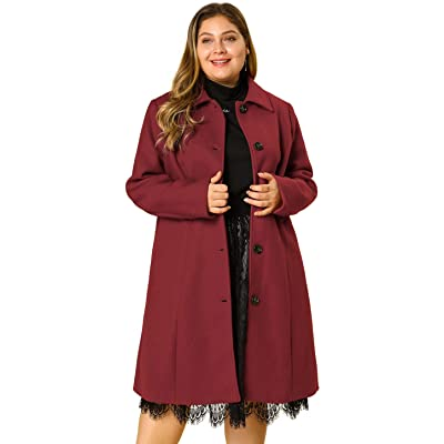 Agnes Orinda Women's Plus Size Single Breasted Belted Winter Long Coat at Amazon Women's Clothing store
