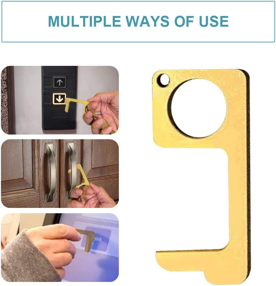 No-Touch Door Opener Closer Portable Stick for Push The Elevator Button Keep Hands Clean Self-Cleaning Reusable Personalized Keychain 5PCS