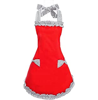 hyzrz cute red cotton ruffle youth girls apron kitchen cooking aprons for women with pockets - Cooking Aprons