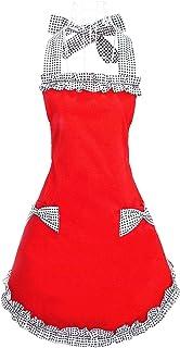 Amazon.com: Hyzrz Cute Fashion Cotton Flirty Red Aprons for Women ...