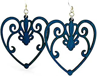 """product image for Laser Cut """"Heart"""" Earrings Made From Sustainably Harvested Wood"""