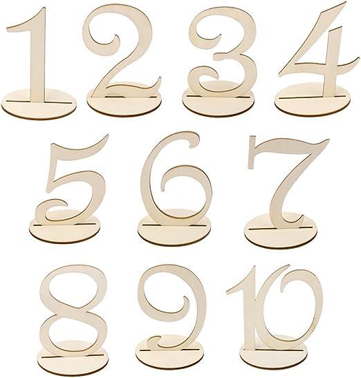 Número de Mesa 1-10 Base Asiento Signo Madera Decoración para ...