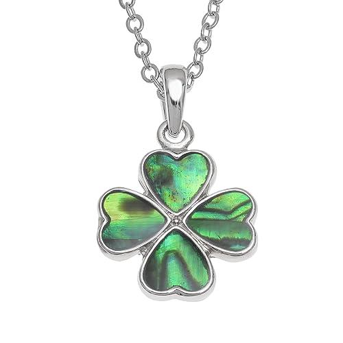 Kiara joyas Trébol de cuatro hojas colgante collar incrustados con ...