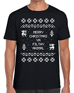 3de6e4b15 TeeDemon Merry Christmas Ya Filthy Animal' - Home Alone - Funny - Mens  Shirts -