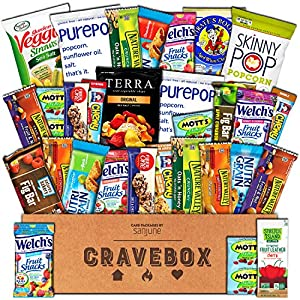 CraveBox - Healthy Snacks Care Package (30 Count) - Variety Assortment with Fruit Snacks, Granola Bars, Popcorn and More, Gift Snack Box for Lunches, Offices or College Students