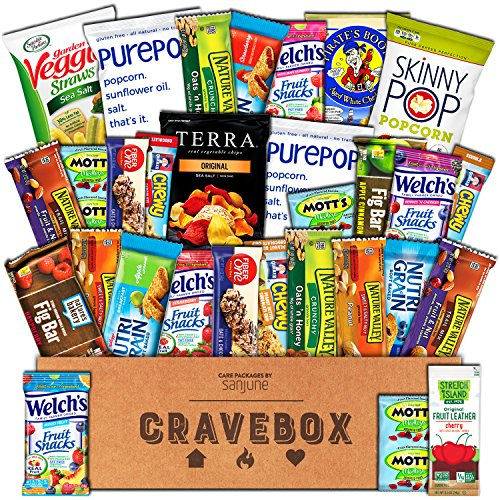 CraveBox - Healthy Snacks Care Package (30 Count) - Variety Assortment with Fruit Snacks, Granola Bars, Popcorn and More, Gift Snack Box for Lunches, Offices or College (Road Trip Gift Box)