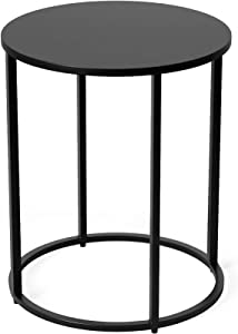 Function HomeRound End Table, Modern Side Table, Sofa Beside Table for Bedroom Living Room in Black