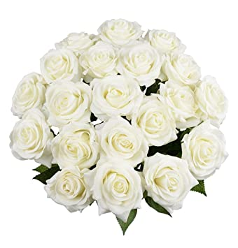 amazon com 10 pcs real touch silk artificial rose flowers silk