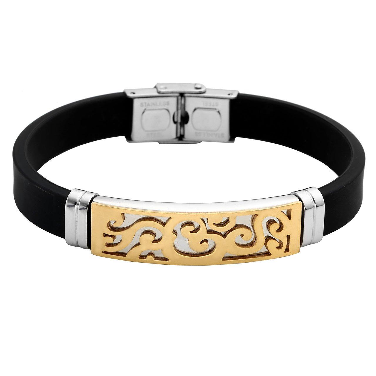 PiercingJ - Bijoux Bracelet en Caoutchouc Motif Lien Poignet Chaine de Main Biker Motard Acier Inoxydable Classique Couple Amoureux Cadeau Valentin avec Boite Cadeau