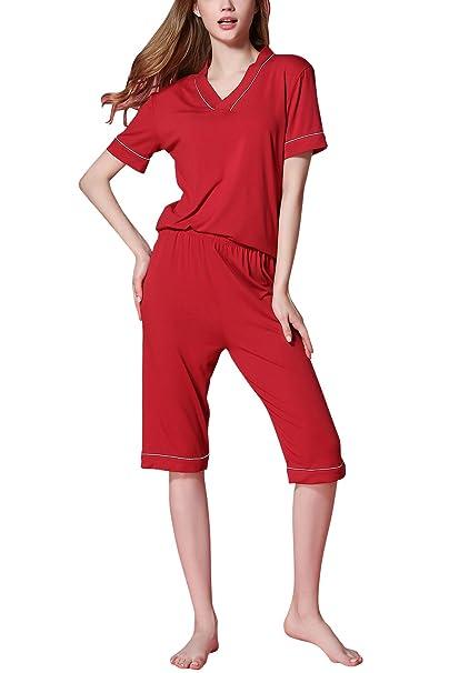 Dolamen Pijamas para Mujer, 2018 Pijamas Mujer Primavera Verano, Mujer Raya Camisones Pijamas de Parejas, Ropa de Deporte, Algodón Suave Manga Corta y ...
