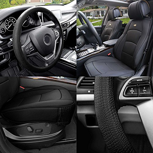 (FH Group PU205102 Ultra Comfort Leatherette Cushion Pad Pair Set Seat Covers Black Color w. FH3001 Black Silicone Steering Wheel Cover- Fit Most Car, Truck, SUV, or Van)
