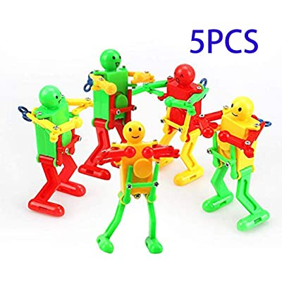 Colorful Spring Wind-up Dancer Dancing Walking Robot Toy for Baby Kid Children,Robot Buddies for Kids Role Playing, Robots Theme Party Activity(5 pcs): Toys & Games