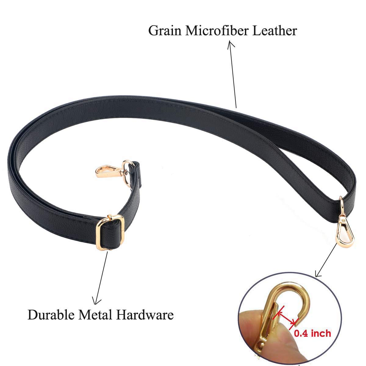 Adjustable for Crossbody Bag or Handbag Beaulegan Purse Strap Replacement Microfiber Leather Black with Gold Clasp 34-59 Inch Long 0.5 Inch Wide
