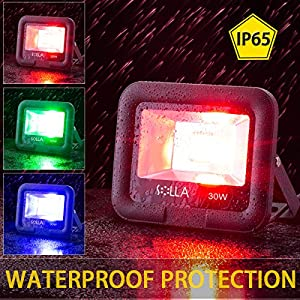 SOLLA 30W RGB Led Flood Light, Outdoor Color Changing Lights with Remote Control, LED Floodlight 16 Colors 4 Modes, IP65 Waterproof Dimmable Wall Washer Light