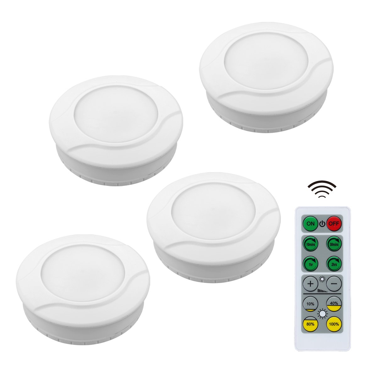 Link2Home EM-BL31W Wireless LED Battery Powered Dimmable Kitchen Under Cabinet Puck Lights with Remote Control, 4 Pack, White