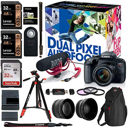 - Canon EOS Rebel T7i 18-55mm Video Creator Kit.43x HD Wide Angle Lens, 2.2X HD Telephoto Lens, Sandisk 32GB X 2, Filter Kit, Camera Backpack and Premium Accessory Bundle