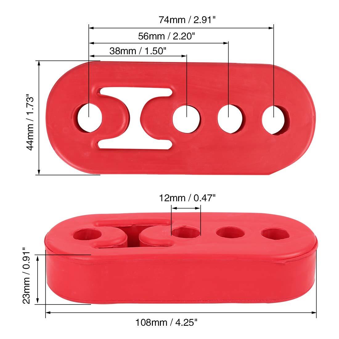 X AUTOHAUX 4 L/öcher 12mm Durchmesser Auto Gummi Auspuff Aufh/änger Isolierbuchse Rot