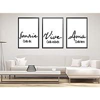 """Triptico de Cuadros decoración salón o habitación moderno, impresos con frase motivadora"""" Sonríe, Vive, Ama"""" Elige…"""