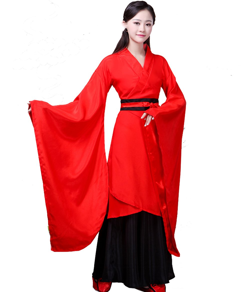 ZENGAI Disfraz antiguo Han ropa china Hembra etiqueta clásico Baile Actuación ropa (Color : Rojo, Tamaño : L): Amazon.es: Hogar