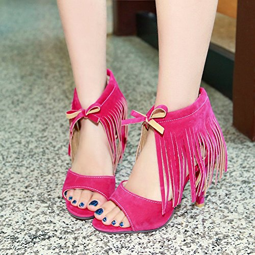 Red Open Sandals Heels Women Lace High TAOFFEN Fashion Toe with Up Fringe Rose O7qw8wI