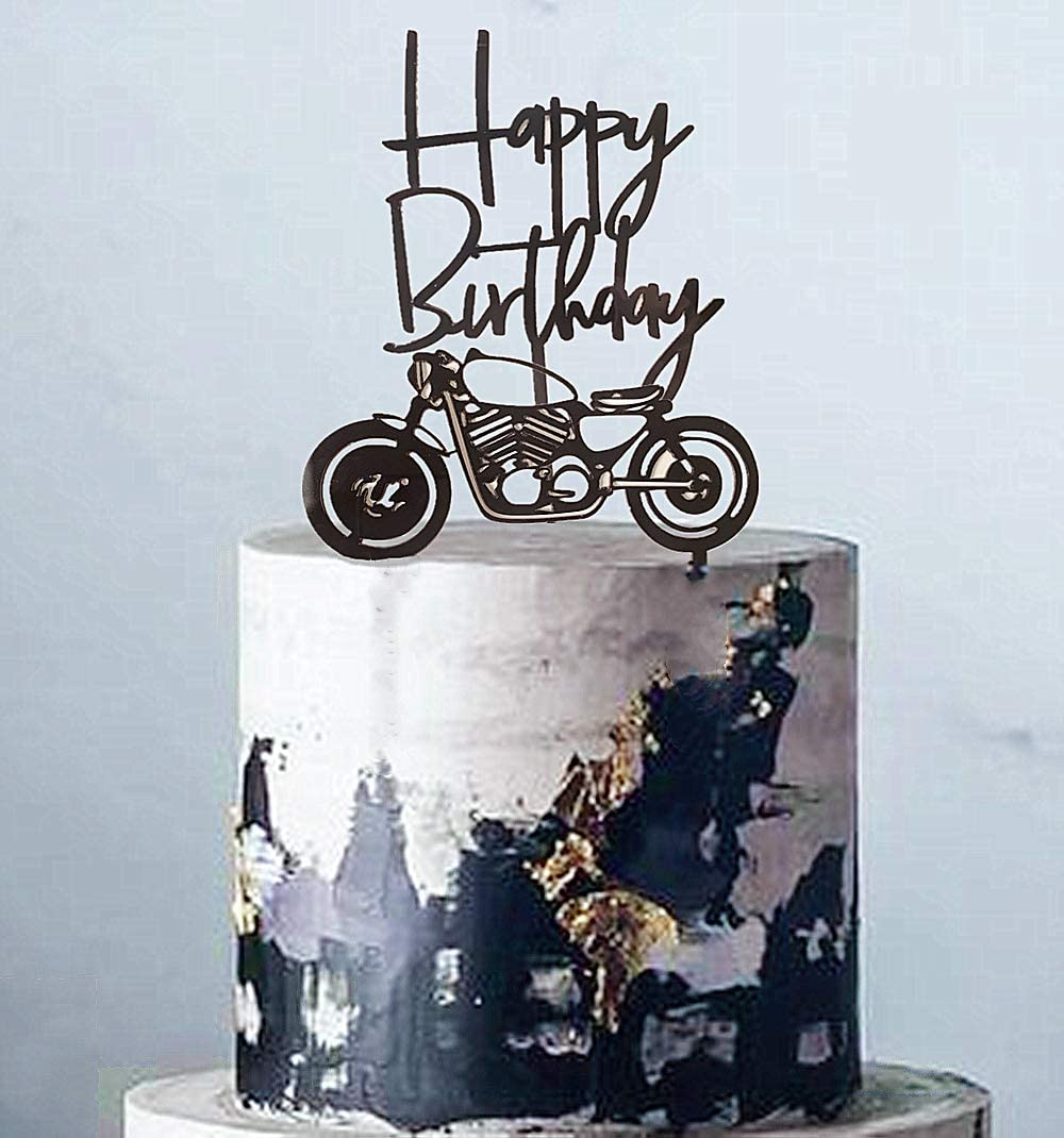 Pleasant Amazon Com Set Of 2 Jevenis Acrylic Black Motorcycle Cake Topper Funny Birthday Cards Online Fluifree Goldxyz