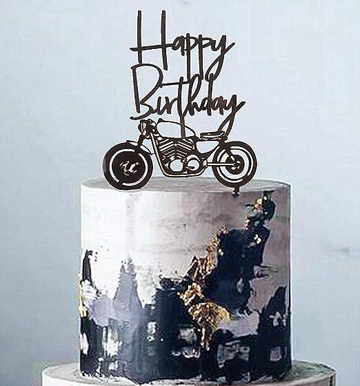 JeVenis - Juego de 2 decoraciones para tartas de motocicleta ...