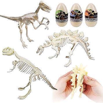 deAO Set de 3 Esqueletos de Dinosaurio Figura de Juguete ...